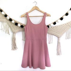 H&M DIVIDED Mauve Pink Ribbed Skater Tank Dress